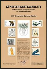 BRD KÜNSTLER-ETB 1989/5 GERHARD MARCKS KATZE KÜNSTLER-ERSTTAGSBLATT LTD EDITION