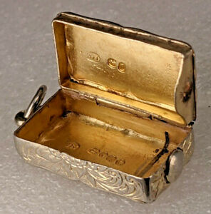Early Victorian Silver Vesta case 1858 as afob by William Neale
