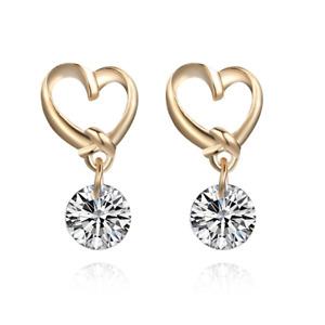 Herz Ohrringe Gold mit Kristall für Damen Frauen Ohrring Ohrstecker Glitzer süße