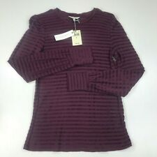 Lucky Brand Burgundy Striped Chenille Long Sleeve Top Size: S/P Women's Clothing