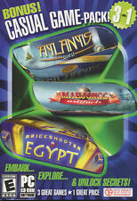 CASUAL GAME PACK 3 in 1 Puzzle PC Games - Brickshooter Egypt, Mahjongg, Atlantis