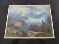 "ORIGINAL VINTAGE PRINT THOMAS MORAN 1930 INDEX PEAK WYOMING YELLOWSTONE 23X18""B"