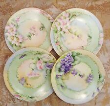 """J P L  LIMOGES  France 4 Hand Painted Flower Plates 6½"""" 3 signed H. R. Baker"""