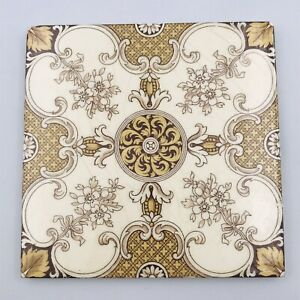 1885 Mintons Antique Tile Stoke on Trent England No. 2345 Brown Floral