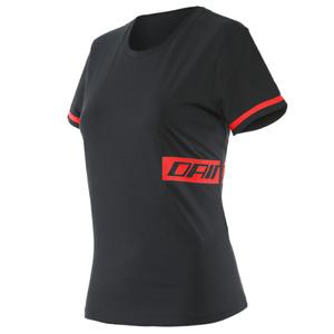 New Dainese Paddock T-Shirt Women's XS Black/Lava-Red #202896844-B78-XS