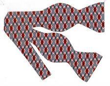 Graphite Gray Argyle Bow Tie / Red, Gray & Black Argyle / Self-tie Bow tie