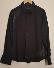 🔹️Large English Laundry Mens Black Embroidered Long Sleeve Dress Shirt
