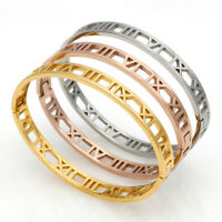 Mens Womens Stainless Steel Silver Gold Bracelet Roman Numeral Cuff Bangle