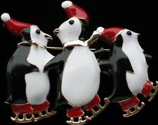 CHRISTMAS FAMILY SANTA ICE SKATING SKATE PENGUINS PENGUIN PIN BROOCH JEWELRY 2""