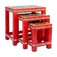 Nest of Three Hand Painted Red Tables Traditional Elephant Indian Design