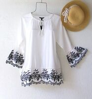 New~White & Black Embroidered Peasant Blouse Shirt Spring Boho Top~Size XL