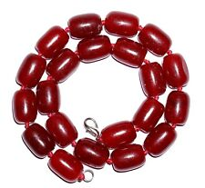 """VINTAGE  CHERRY RED CARNELIAN AGATE BARREL SHAPE 18x13mm BEADED NECKLACE 17"""""""