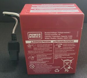 Fisher-Price Power Wheels 6-Volt Rechargeable Battery - NOT TESTED - FREE SHIP!
