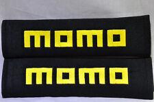 Embroidery Cool Black Soft Seat Belt Cover Shoulder Pads Pair MOMO Logo