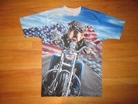 9V/BIG DOG MOTORCYCLE SHIRT/CHOPPER/SHORT SLEEVE/MEDIUM/FLAG/COOL!