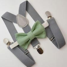 Kids Boys Mens Gray Suspenders & SAGE Green Bow tie Infant - ADULT SET