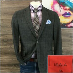 Isaia Mens Blazer Sport Coat Jacket Two Button Wool Cashmere Size 42R Base S
