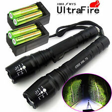 2x Cree Led Flashlight Rechargeable Zoom Tactical Torch 18650 Battery + Charger