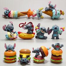 1 Set of 11 Disney Stitch Hamburg Hot Dog Figure Figurine Cake Top Ornament Toys