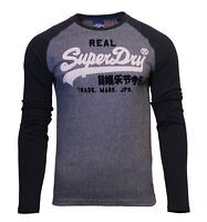 Superdry Mens Vintage Logo Duo Raglan Long Sleeve Crew Neck T-Shirt Black
