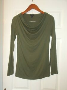 Baukjen Jersey Cowl Tunic Top Olive Green Khaki Stretch Slouchy Comfy 8 10 VGC
