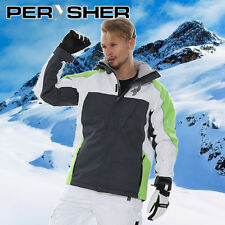 PERYSHER Performance Men Snowboard / Ski Jacket - Chartreuse Green, Black, White