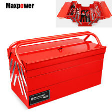 """Maxpower 17"""" Tool Box Metal Cantilever 3 Tier 5 Tray Toolchest Storage Portable"""