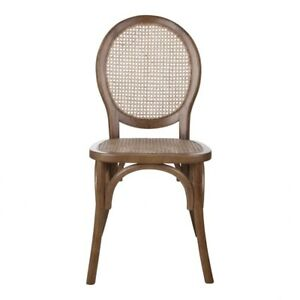 """19"""" W Set of 2 Round Back Dining Chair Modern Woven Rattan Solid Elm Wood Frame"""