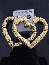 Large Bamboo Earrings- Gold Silver Hoop Celebrity Fashion- 6 Styles Available