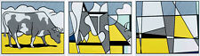 Roy Lichtenstein 'Cow Going Abstract' 1982 Original Triptych Poster Print Set
