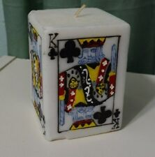 New vintage Poker Casino Card Good Luck Decor Wax White Votive Candle