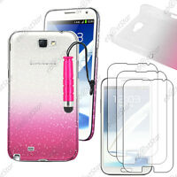 Housse Etui Coque Gouttes Rose Samsung Galaxy Note 2 + Mini Stylet + 3 Films