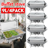 4PC 9L  3 Plates Chafing Dish Buffet Stoves Caterers Food Warmer Burner Tray