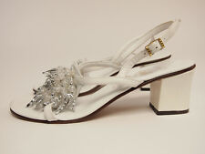 Amalfi vintage 60s White Beaded evening sandals 6.5 N