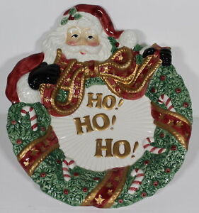 Fitz and Floyd Essentials Christmas Wreath Santa Ho!Ho!Ho! Appetizer Plate EUC
