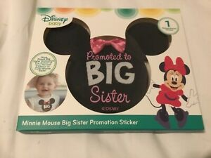 """Minnie Mouse Ears pink bow Milestone Sticker """"Promoted To Big Sister"""" Disney"""