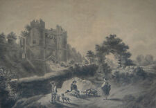 Antique drawing, ink and wash Figures and dog by Carisbrooke Castle. Early 1800s