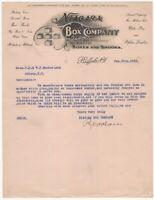 1911 Niagara Box Co. Buffalo New York Illustrated Letterhead