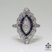 Antique Edwardian Platinum Diamond & Sapphire Ring