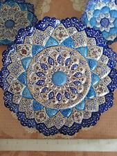 Persian Handmade Mina Kari Copper Enameled Decorative Plate (Appx. 10 inch wide)