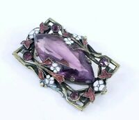 Antique Edwardian Champleve Enamel Flowers & Glass Amethyst Brooch Pin