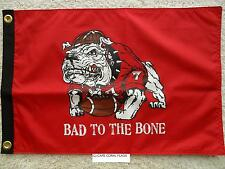 "12""X18"" GEORGIA BULLDOGS  DBL SIDED NYLON ""BAD TO THE BONE"" FLAG COLLEGE-NCAA"