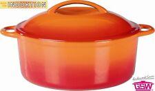 Gusseisentopf Schmortopf Kochtopf Topf 24cm orange emailliert Induktion  717243