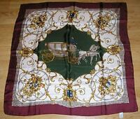 VINTAGE HORSE ROYALTY CARRIAGE STAGECOACH HERALRDY CREST SHIELD LION ECHO SCARF