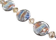 10 pcs Earthy Swirly Flat Round Disk Silver Foil Lampwork Glass Bead 20mm New