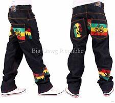 Money Talks Mens Boys Rasta One Love Blue/Black Loose Fit Jeans Hip Hop Weed