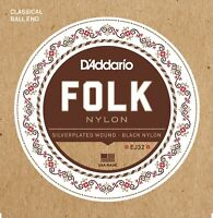 D'Addario EJ32 Folk Nylon Ball End Guitar Strings Silver Wound/Black Nylon