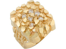 10k or 14k Yellow Gold White CZ Nugget Mens Ring
