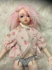 Vintage Flannel Pink Flower Print Bed Jacket Nightie 1:4 Msd Bjd Doll