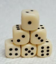 Dice - 10mm Deluxe OP Ivory w/Black Pips! Set of *6* - Ivory-pigment in Plastic!